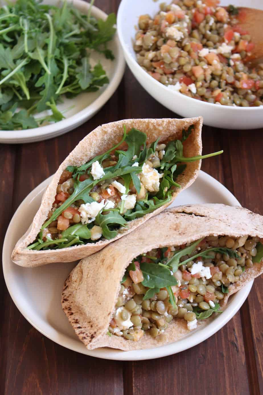 Lentil Bruschetta Salad in Whole Wheat Pita | Frugal Nutrition