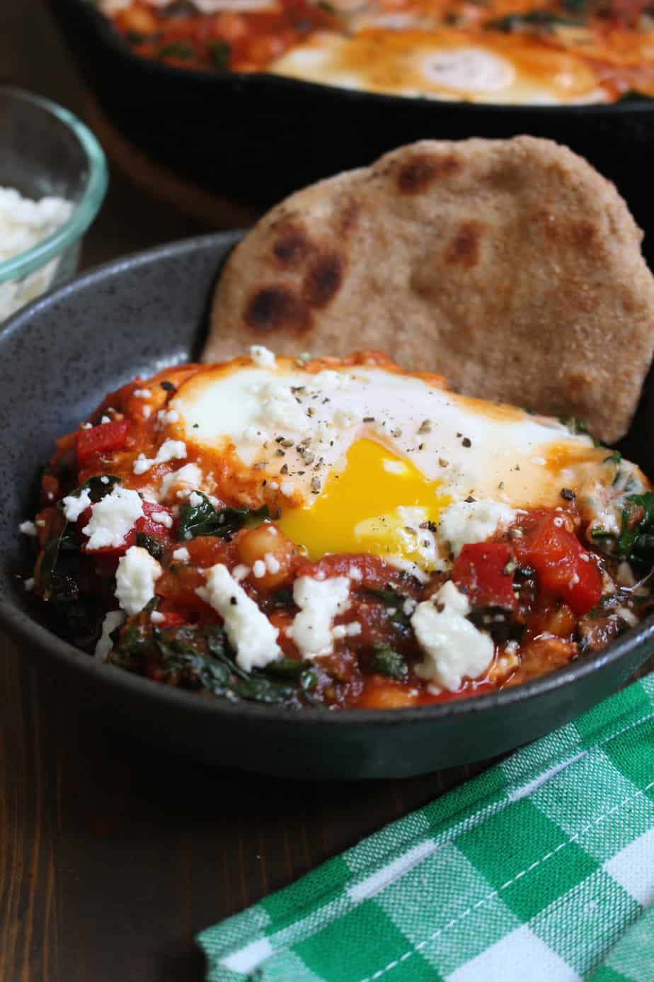 Shakshuka with Whole Wheat Naan, Kale, and Chickpeas | Frugal Nutrition