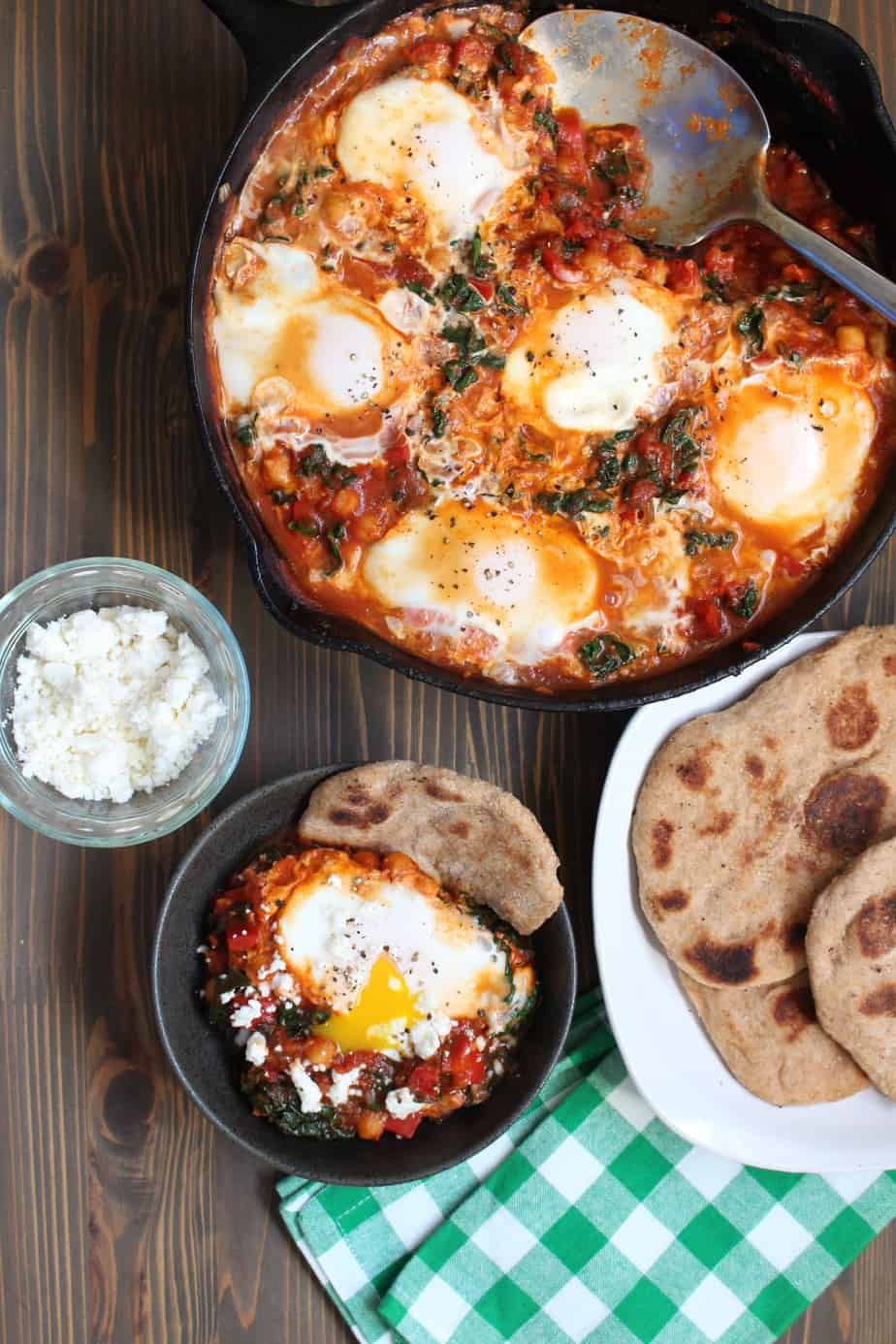 Shakshuka Tomato Skillet with Chickpeas, Kale, and Eggs | Frugal Nutrition