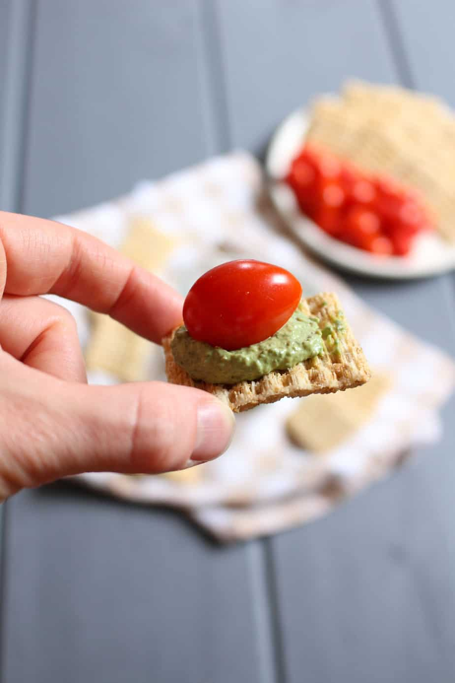Basil Cream Cheese Dip with Crackers and Tomatoes | Frugal Nutrition
