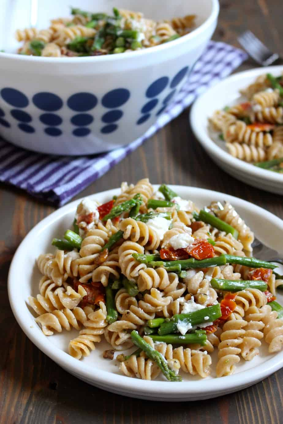 Easy Pasta Salad with Asparagus, Goat Cheese, and Sun Dried Tomatoes | Frugal Nutrition