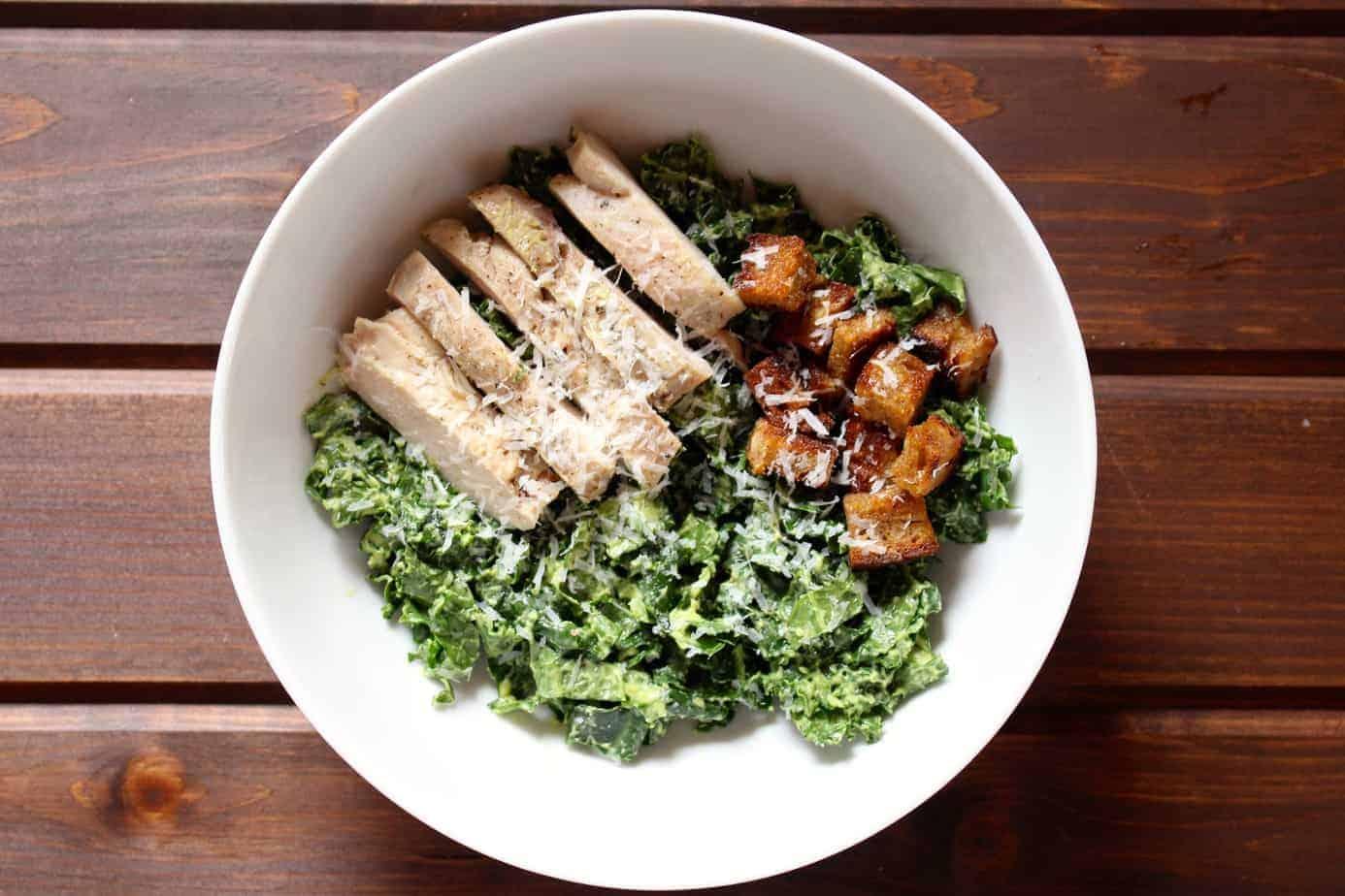 Chicken Avocado Kale Caesar Salad | Frugal Nutrition