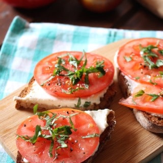 Garlic Ricotta Toast with Tomatoes and Basil | Frugal Nutrition