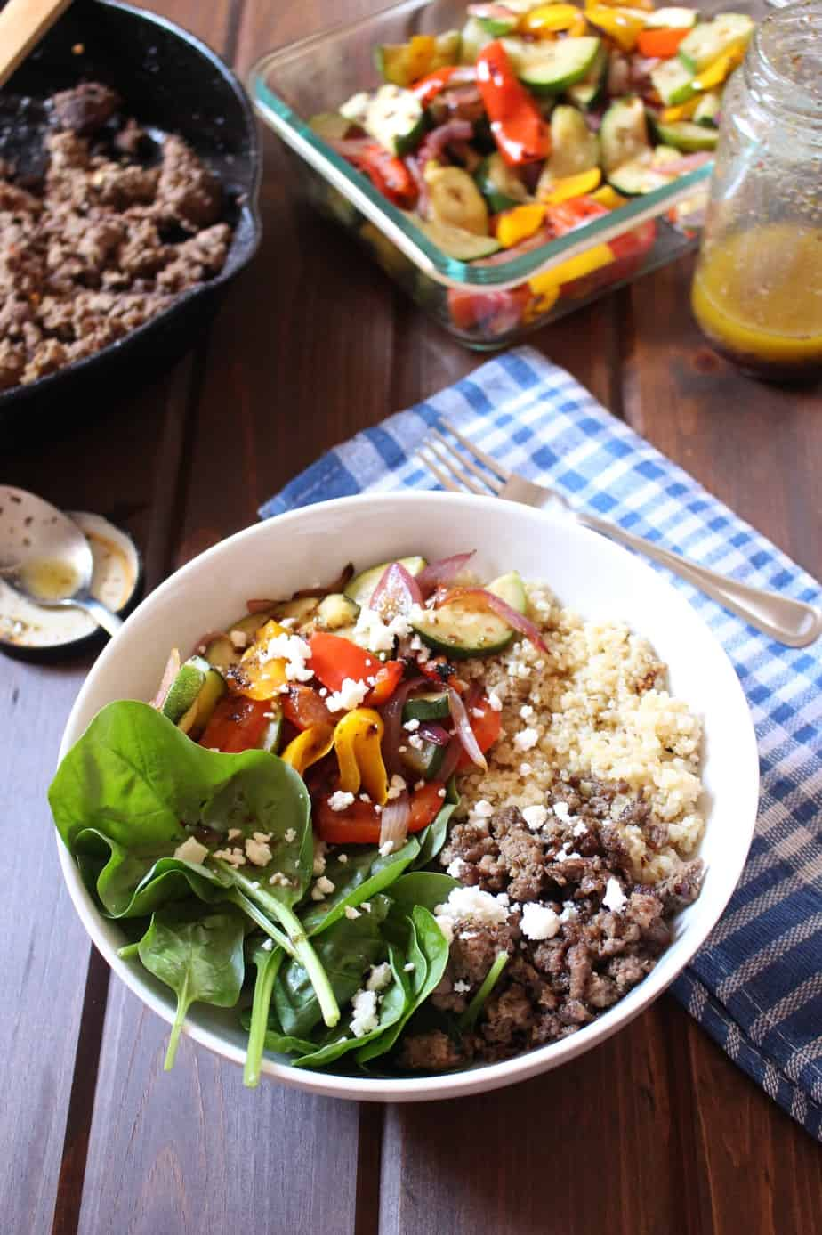 Mediterranean Quinoa Bowls with Beef and Grilled Veggies | Frugal Nutrition