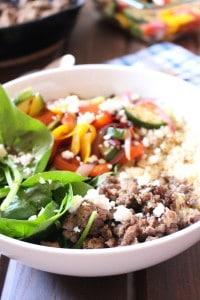 Quinoa Bowl with Mediterranean Ground Beef and Veggies | Frugal Nutrition