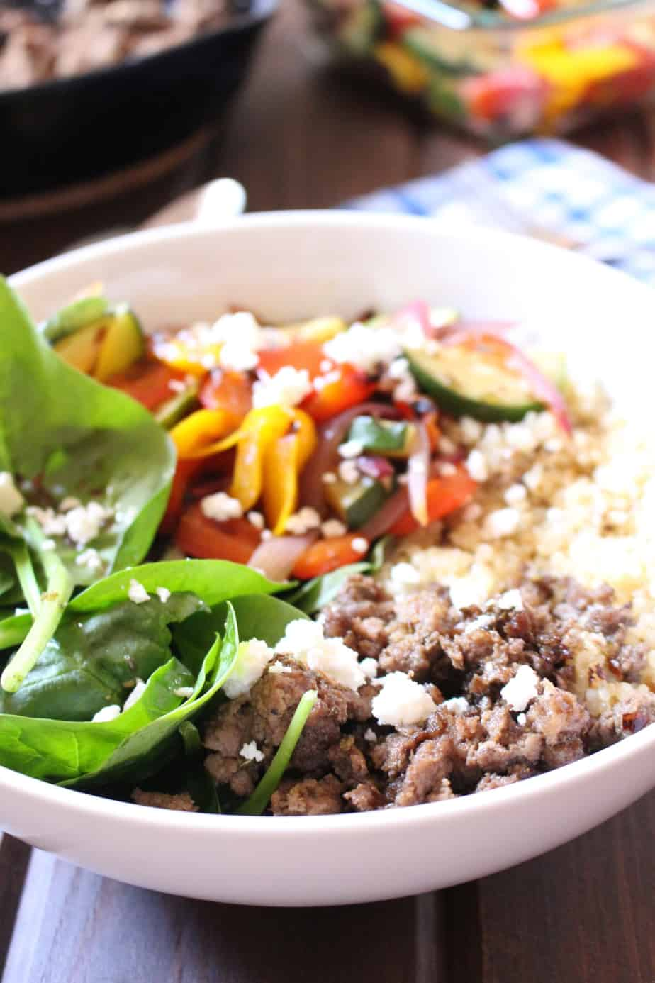 Quinoa Bowl with Mediterranean Ground Beef and Veggies | Frugal Nutrition