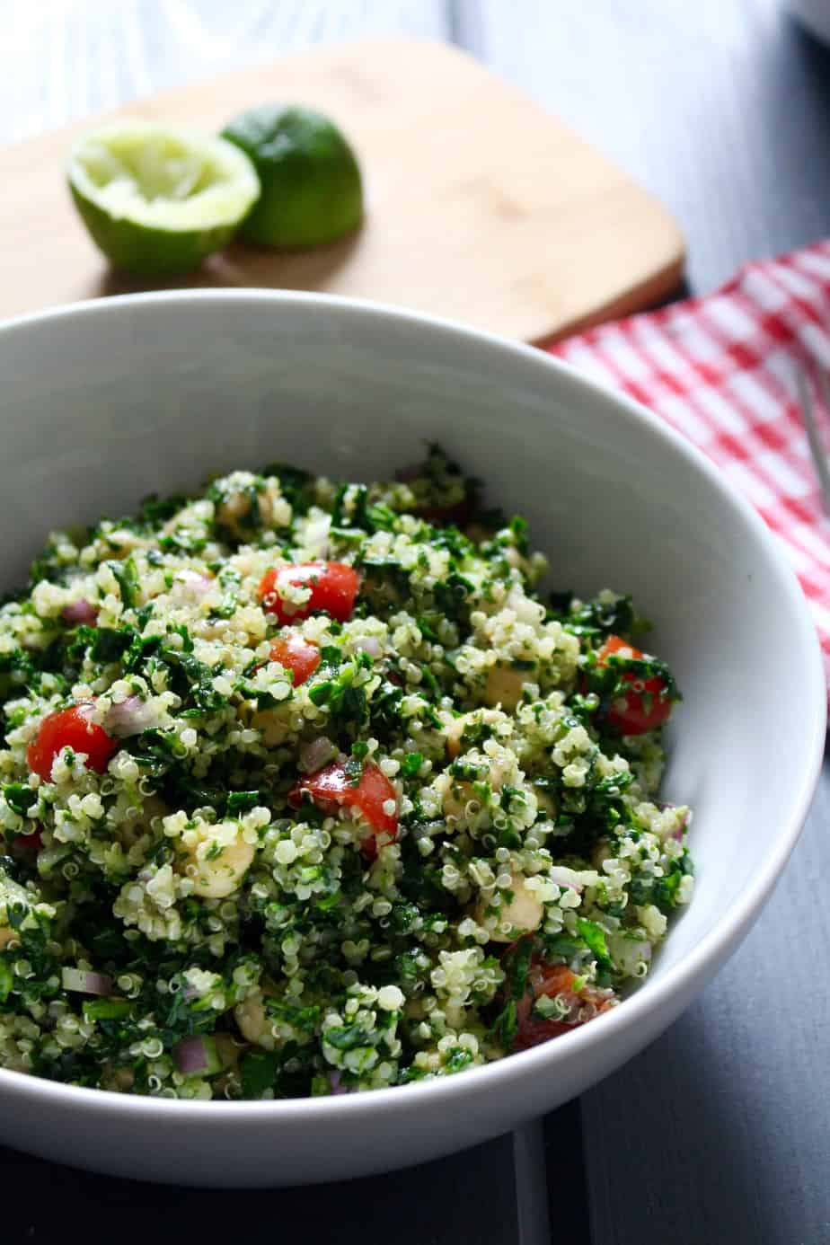 Vegan Cilantro Lime Quinoa Spinach Salad with Chickpeas   Frugal Nutrition