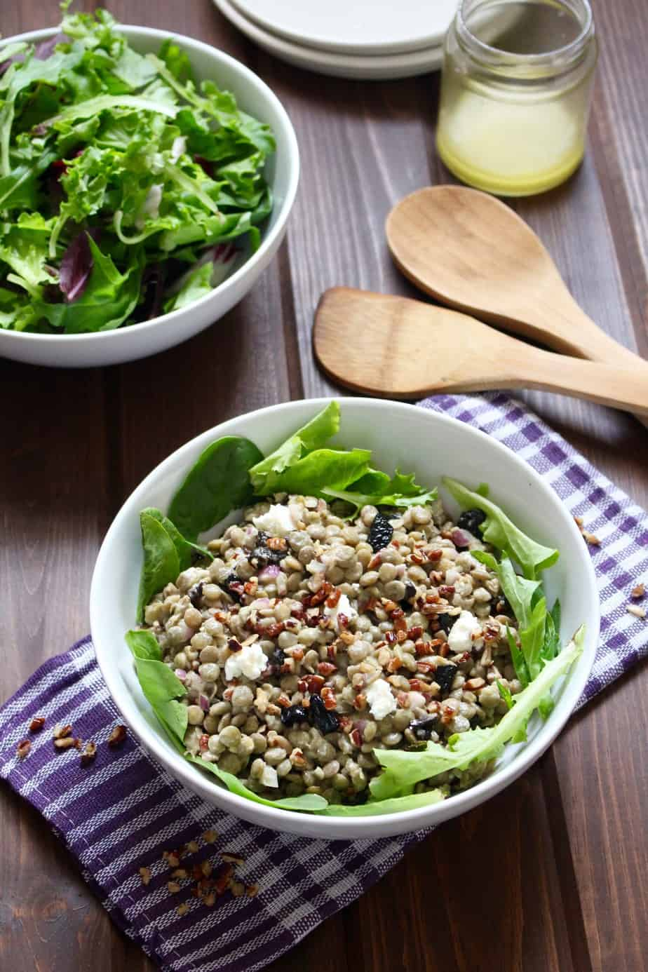 Cherry Lentil Goat Cheese Salad | Frugal Nutrition