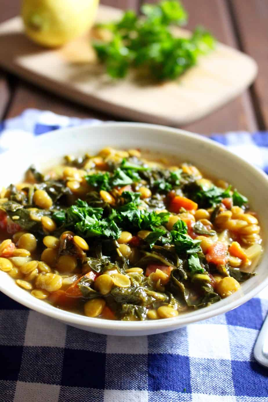 Easy Lemony Lentil Stew with Kale | Frugal Nutrition