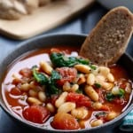 Garlic, Tomato, & Balsamic White Bean Soup with Spinach