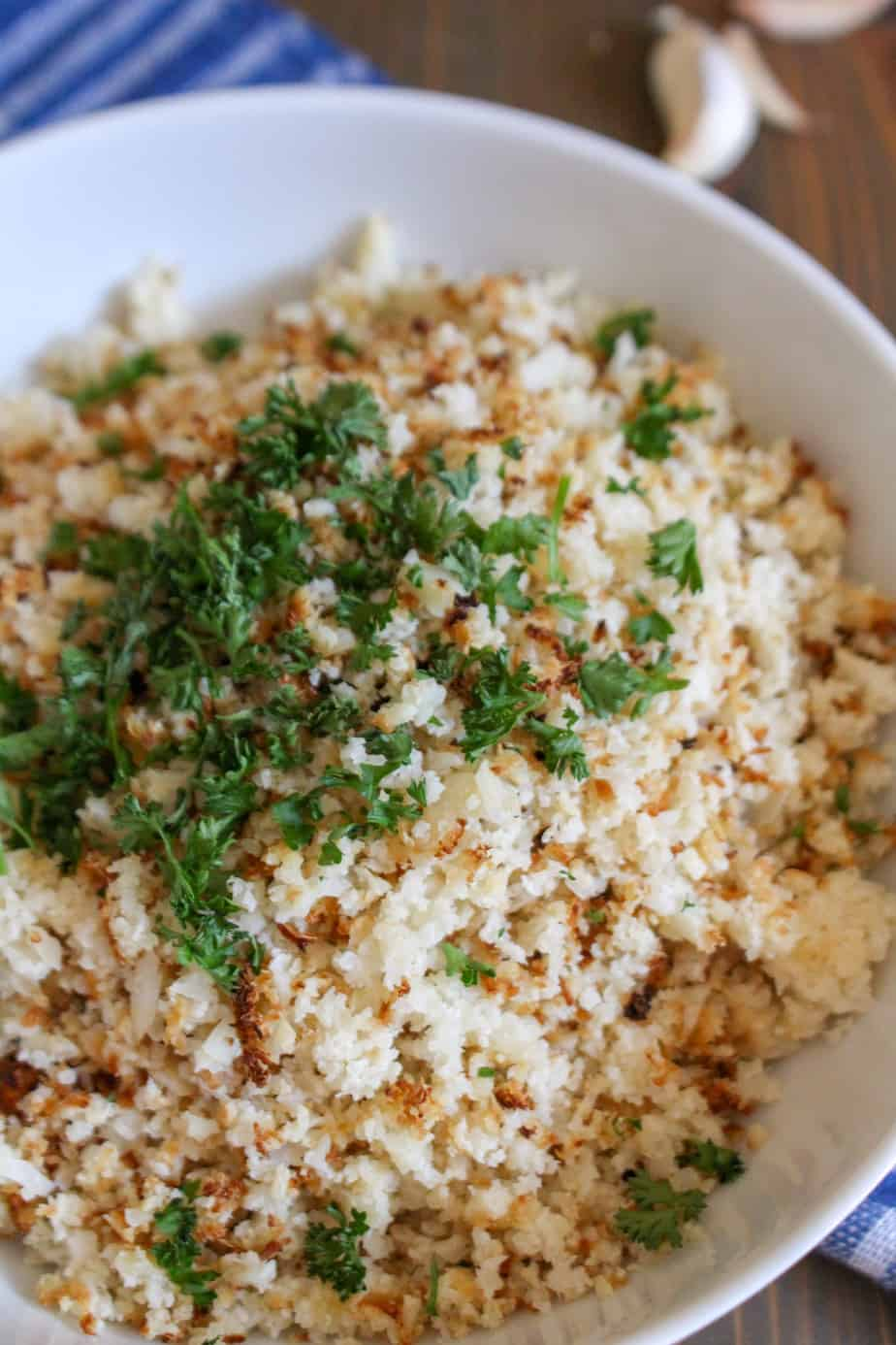 Garlic Ghee Cauliflower Rice | Frugal Nutrition