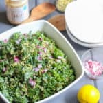 Massaged Kale and Tahini Salad with Pumpkin Seeds | Frugal Nutrition | www.frugalnutrition.com #kalesalad