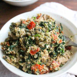 Pesto Turkey Cauliflower Rice Bowls with Sun Dried Tomatoes   Frugal Nutrition