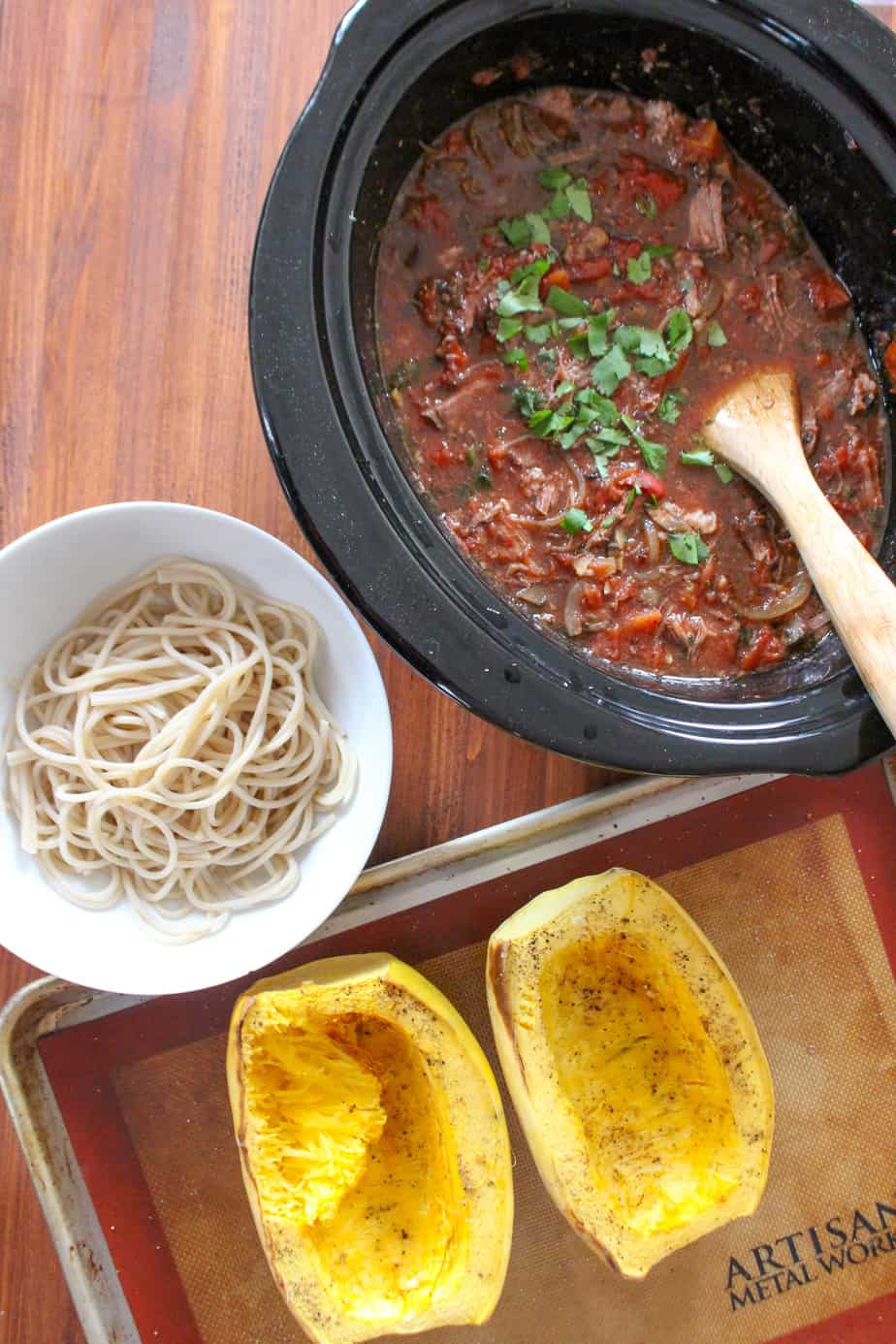 Slow Cooker Beef Ragu with Brown Rice Noodles or Spaghetti Squash | Frugal Nutrition