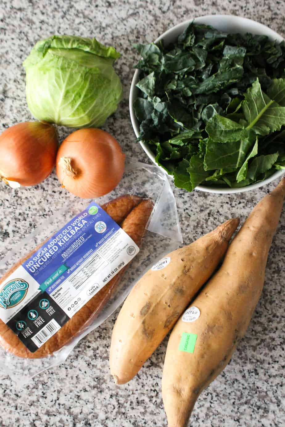 Ingredients for Sweet Potato Sausage Soup | Frugal Nutrition