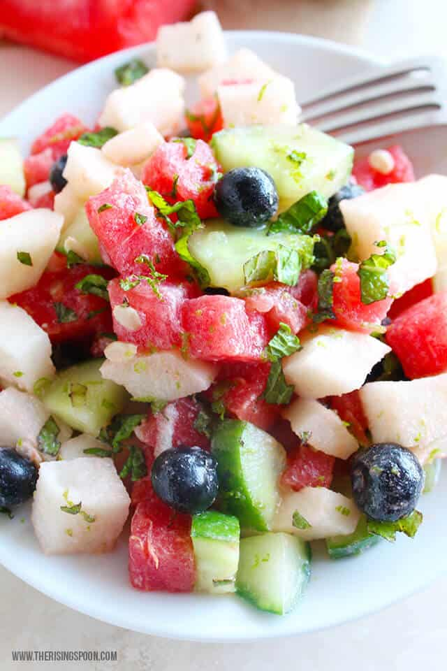 watermelon-and-cucumber-fresh-fruit-salad-recipe the rising spoon