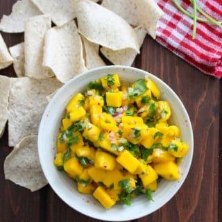 Spicy Mango Salsa with Siete Tortilla Chips | Frugal Nutrition