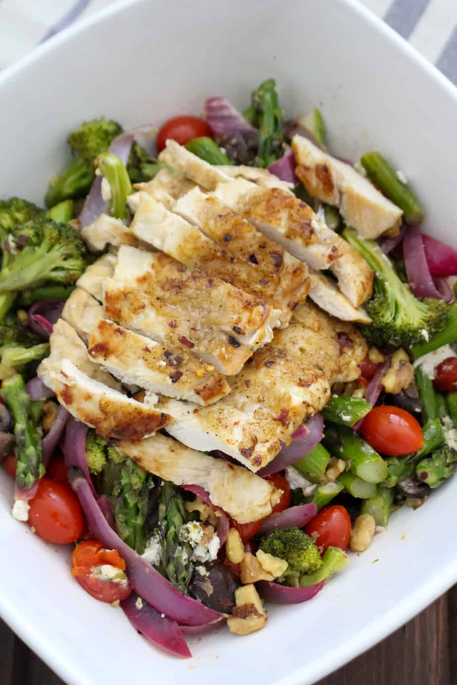 Summer Roasted Vegetable Salad with Chicken | Frugal Nutrition