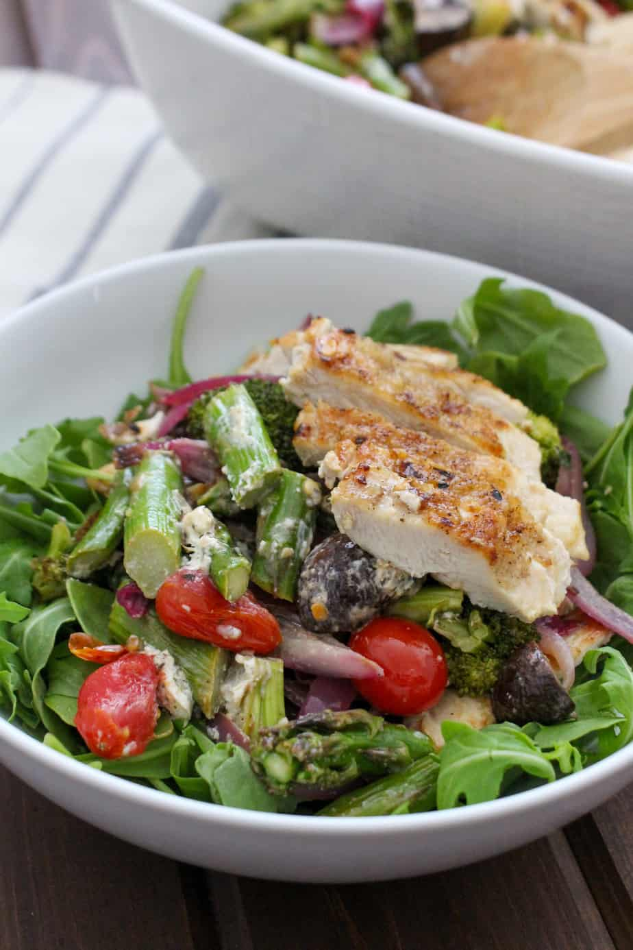 Summer Roasted Vegetable Salad with Crispy Chicken and Goat Cheese | Frugal Nutrition