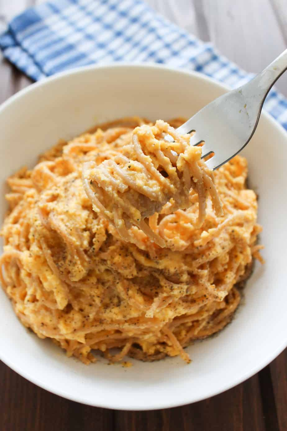 Creamy Butternut Squash Sauce with Red Lentil Spaghetti | Frugal Nutrition