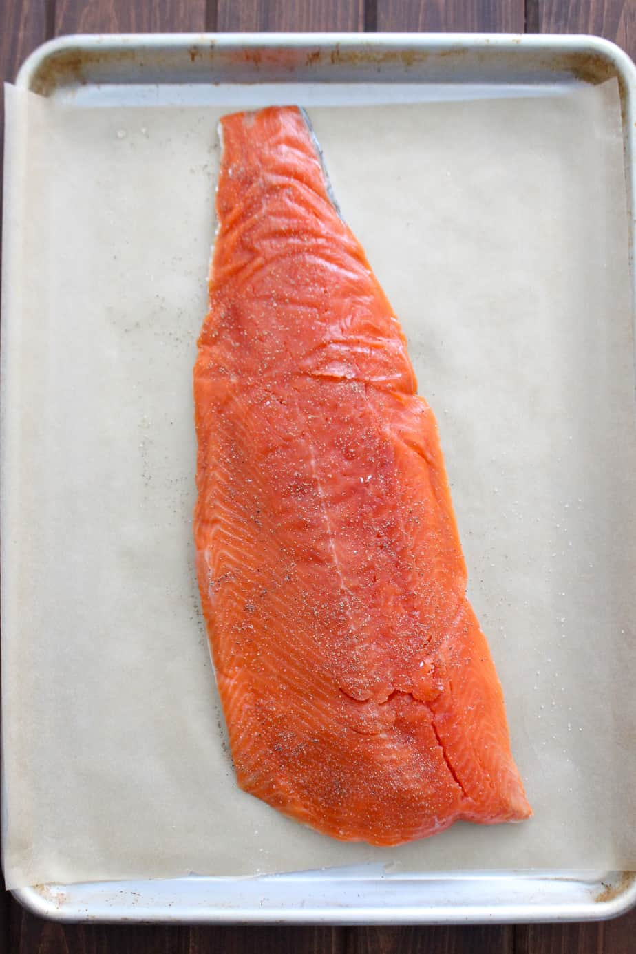 Raw Wild Moinkbox Salmon on Sheet Pan | Frugal Nutrition