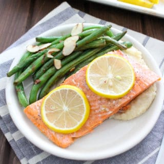 Roasted Wild Salmon with Green Beans and Celery Root Mash | Frugal Nutrition