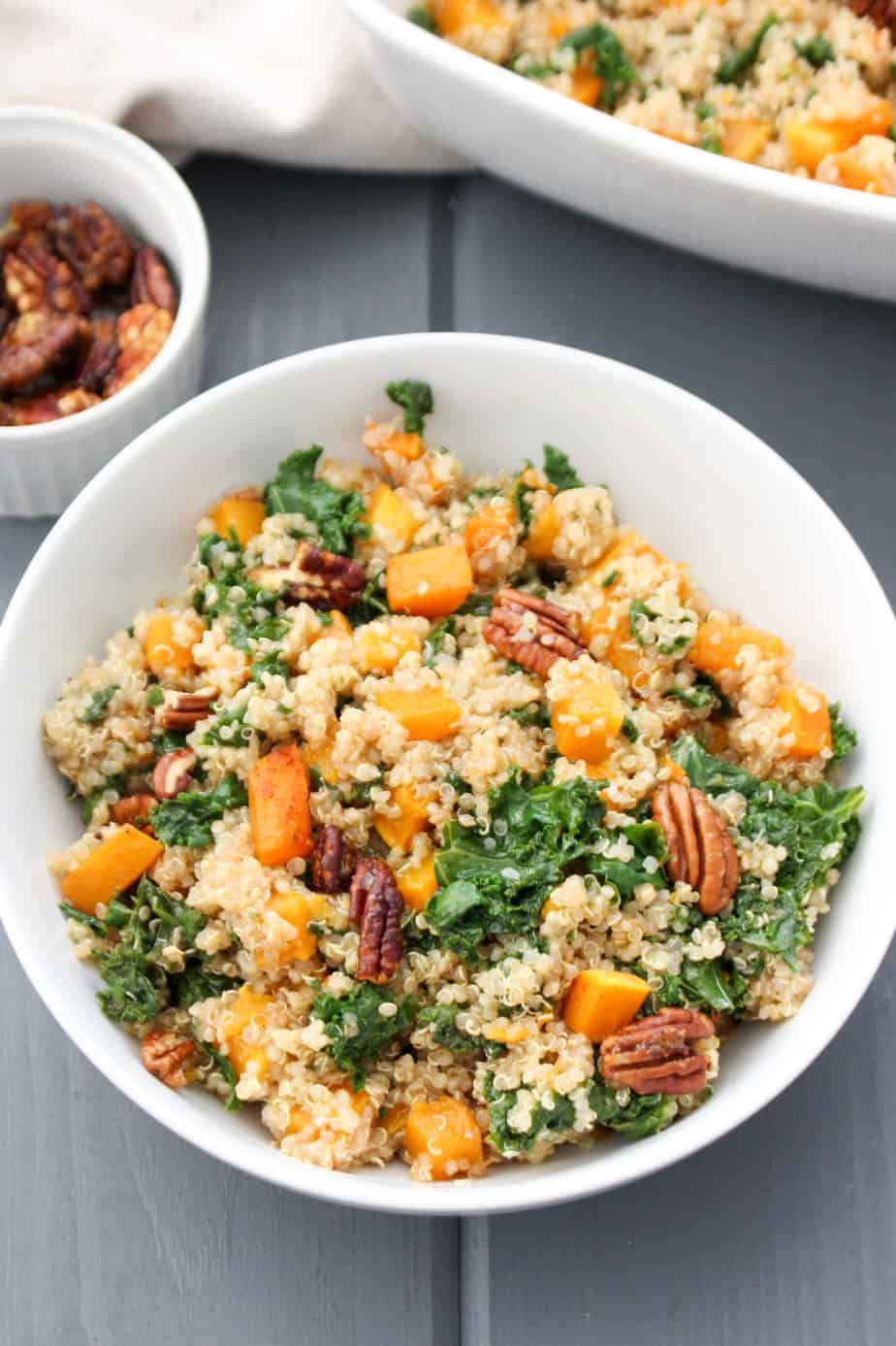 Butternut Squash Quinoa with Kale and Candied Pecans | Frugal Nutrition