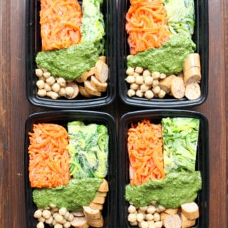 Pesto Veggie Noodles Frozen Meal Prep Containers | Frugal Nutrition