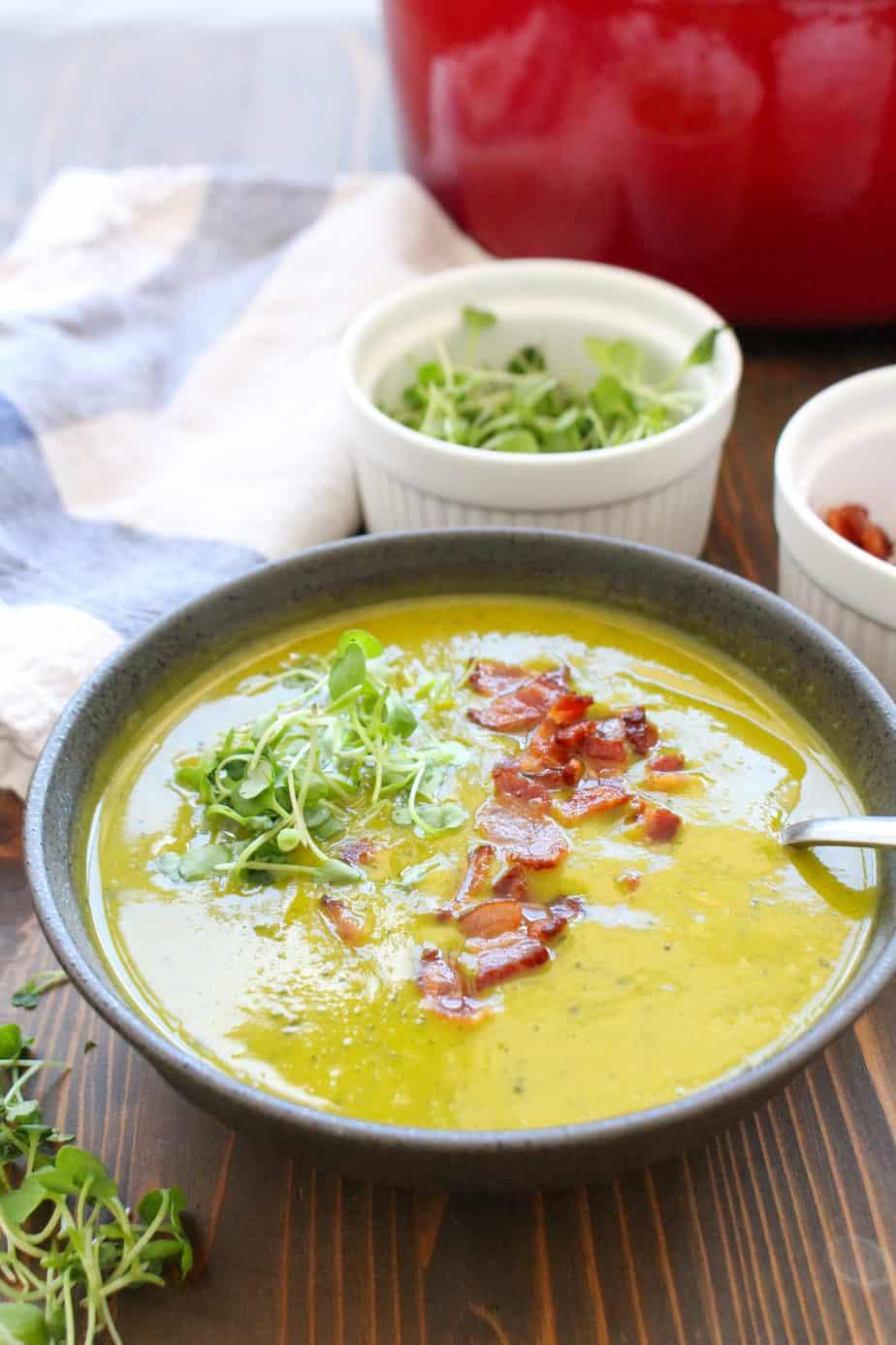 Kabocha Squash Bacon Soup by Frugal Nutrition #lowfodmap