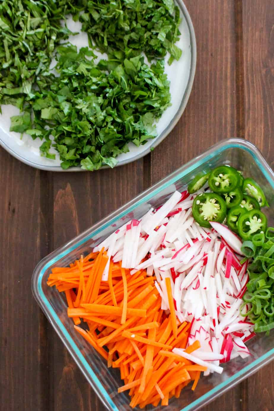 Quick Pickled Veggies and Herbs for Vietnamese Bun Cha Salad by Frugal Nutrition