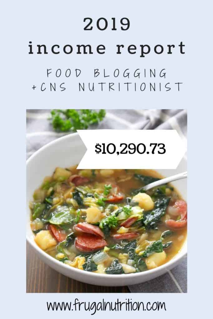 food blogging 2019 income report CNS nutrition | Frugal Nutrition