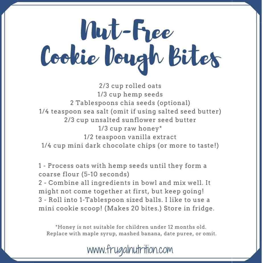 Nut Free Cookie Dough Bites
