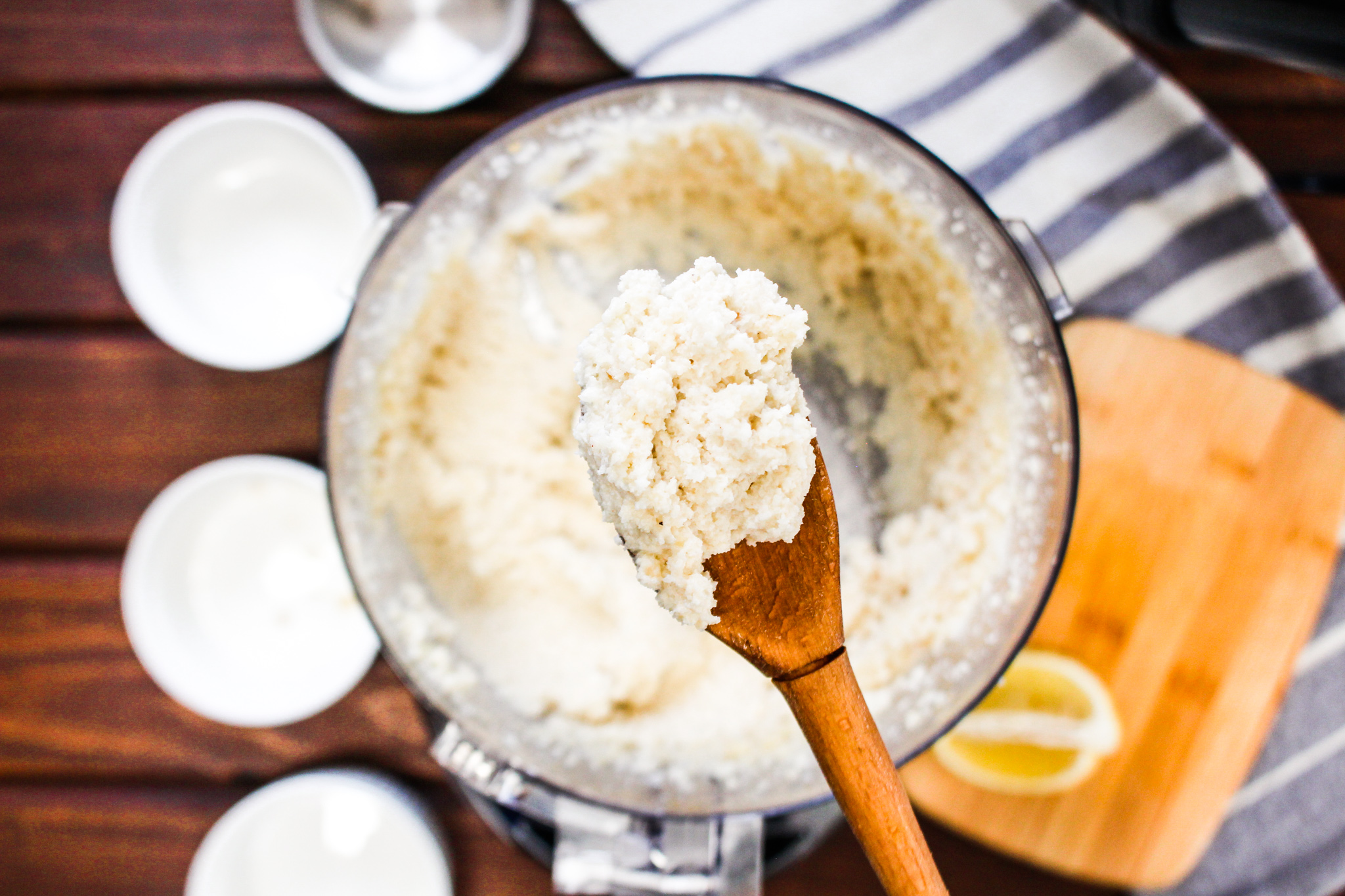 Photo of Macadamia Cauliflower Ricotta on wooden spoon