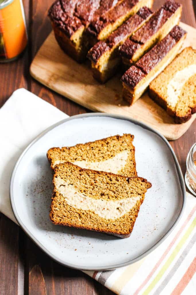 Plate with two slices of pumpkin bread.
