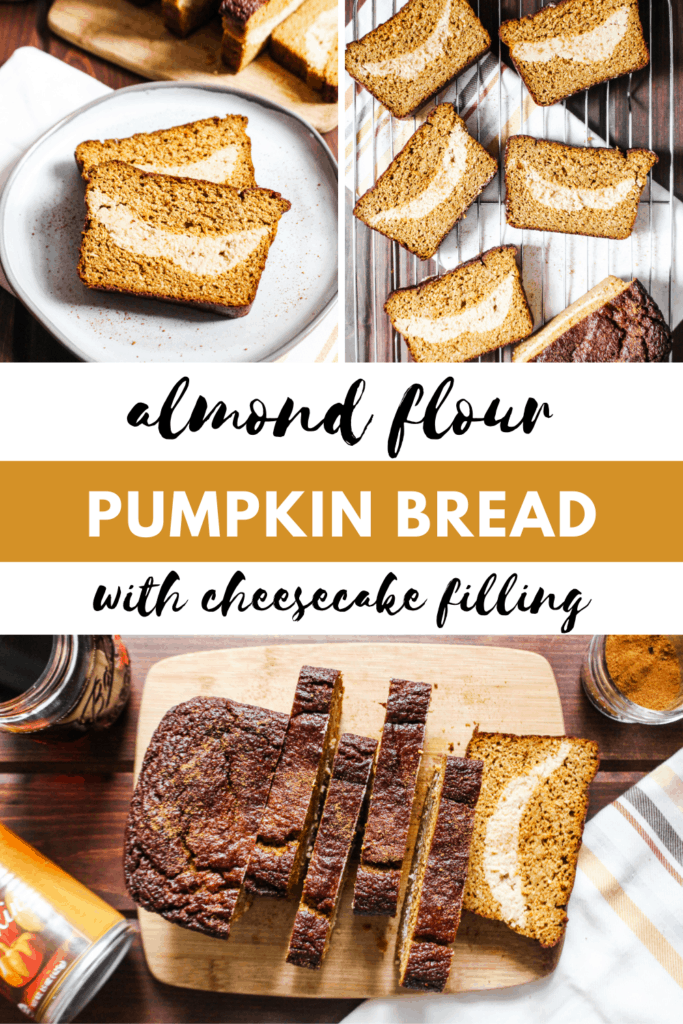 collage pin with pumpkin bread and cheesecake filling