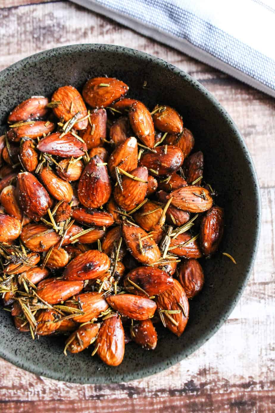 dark bowl with rosemary almonds