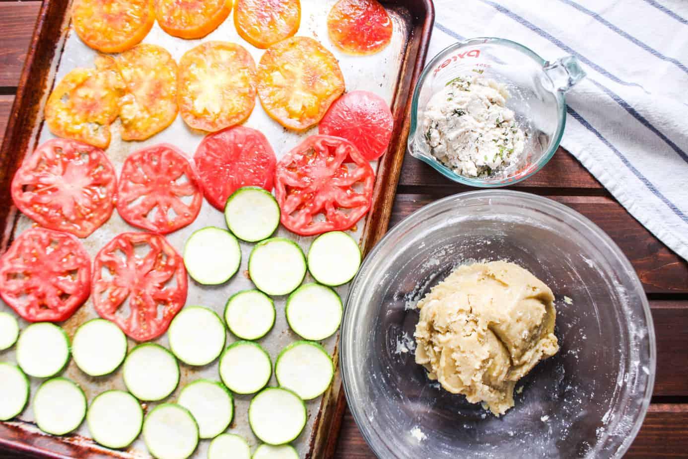 ingredients for zucchini summer galette