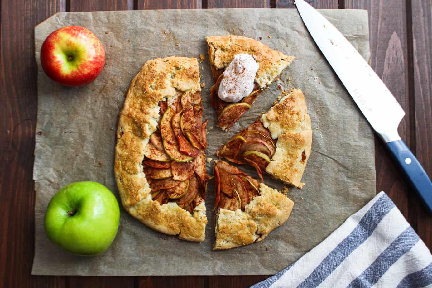 apple pie galette on parchment paper