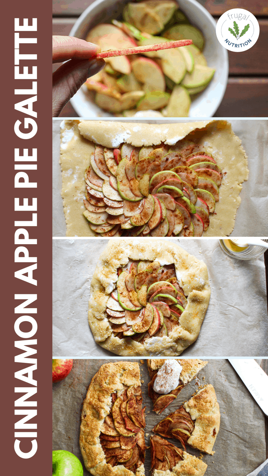 collage of stages of making an apple pie galette